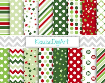 Red and Green Christmas Digital Printable Papers, Holiday Backgrounds, Stars, Stripes, Chevrons, Scrapbooking, Commercial Use - 0106