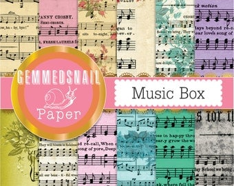 Sheet music digital paper, vintage shabby music scrapbook paper, romantic digital paper