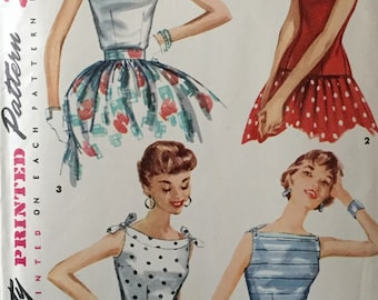 "Vintage 1950s Simplicity Misses' Sleeveless Blouse Pattern 1201 Size 12 (30"" Bust) UNCUT"