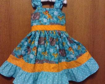 5T Lion Guard Twirl Dress, Size 5T, Ready to Ship, Lion Guard Birthday, Millie Rose Pattern, Disney