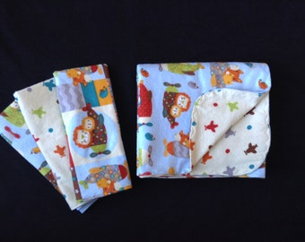 Animals in Airplanes Flannel Baby Blanket and Burp Cloth Set, Ready to Ship, Baby Gift Set