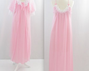 Chiffon Princess Nightgown and Robe - Vintage 1970s Peignoir Lingerie Set in Pink - Large by La Loire