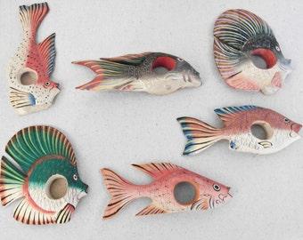 FISH Napkin Rings Vintage Handmade // Painted Rainbow Marine