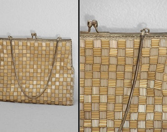 Metallic Bugle Beads Purse 1960s // Richere by WALBORG Mod Silver Gold