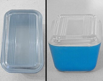 Blue PYREX Fridge Container and Glass Lid White Inside 1960s Refrigerator Keeper
