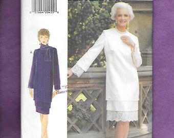 Vintage 1994 Vogue 9123 Misses' Straight Dress With Tiered Hemline, Long Sleeves, And May Be Embellished With Lace, Sizes 18, 20, 22, UNCUT