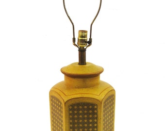 Rustic Yellow Pottery Lamp