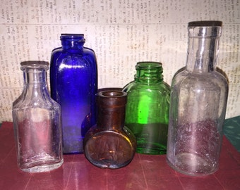 A Perfect Collection of Miniature Vintage Glass Bottles in a Variety of Desirable Colors