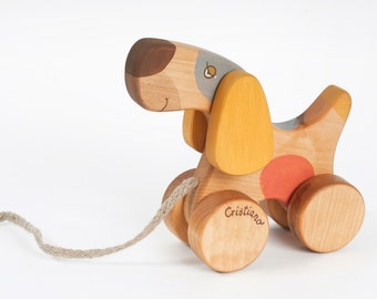 Personalized Pull along dog, Wooden Toy Dog, Pull Toys for Toddlers