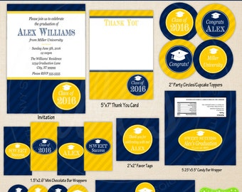 Graduation Party Printables - Custom Graduation Party - Graduation Party Set - You Pick School Colors