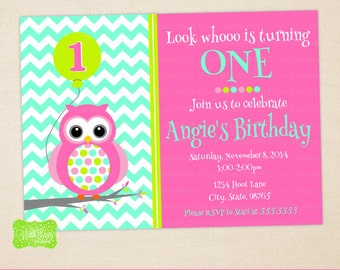 Owl Party Invitation - Owl Birthday Invite - Polka Dot Invitation - DIGITAL and PRINTED Available