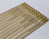 Customized Engraved Pencils Set of 12 - natural wood