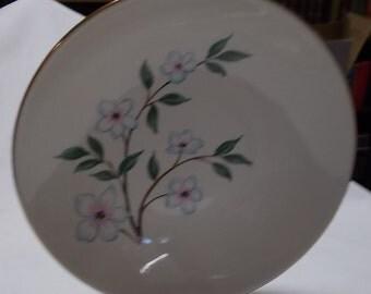 Homer Laughlin Salad Plate Clematis Rythm Porcelain China Gold Rim Vintage Dinnerware Plate