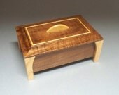 Walnut & Bird's-eye Maple Leg Box- Lacquer Finish, Treasure Box, Home Decore, Trinket Box, Small Wooden Box, andcrafted  Gift Idea