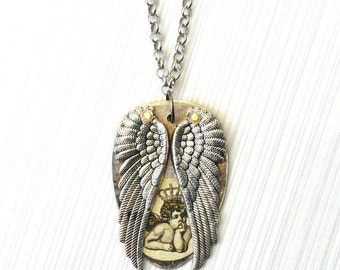 Pendant Necklace Boho Angel Wings and Angel - Hammered Spoon Necklace - Angel Wings - Spoonie - Moto Silver