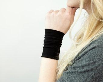 Black Wrist Cuff Bracelet, Black Arm Band, Stretch Cuffs Jersey Wrist Tattoo Cover Up Wrist Covers Long Cuff, Wristband Scar Cover Sweatband