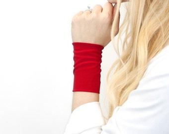 Red Bracelet Wrist Cuff, Stretch Cuffs, Jersey Tattoo Cover Up Wrist Covers, Long Wide Arm Wristband Band, Fabric Jewelry Armband