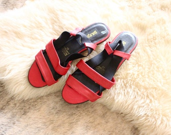 red leather scrappy sandals / 8