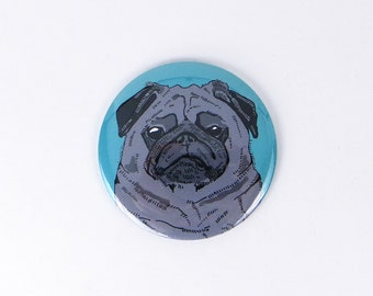 Black pug magnet, black pug button refrigerator magnet, gift for pug owner