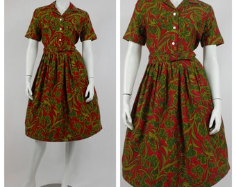 1950's Red and Green Day Dress - 50's Cotton Dress - Vintage Rockabilly Dress - New Look Cotton Dress -  Mad Men Dress -  Size 4 to 6