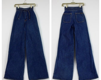 1970's H.A.S.H. Elephant Jeans - 70's Nos - Deadstock Wide Leg Jeans - World's Largest Disco - High Waist Bell Bottom Jeans - Size 24 / 35