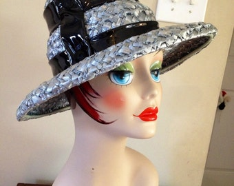 Vintage Staw and Patent Leather Wide Brim Hat 1960