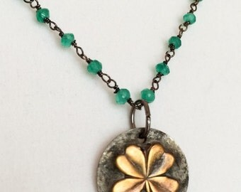 Four Leaf Clover Necklace - Green Clover Necklace - Brass Clover Necklace - Green Onyx Necklace - Lucky Clover Necklace - Green Brass Clover