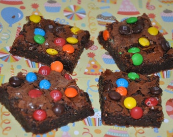 Real Dark Chocolate M& M 's Brownies  fudgy Delicious Holiday Cookie Gift