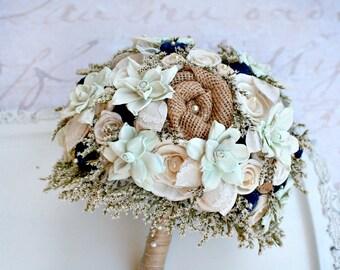 Rustic Wedding Bouquet - Mint, Navy // Bridal Bouquet, Dried Flower Bouquet, Burlap Bouquet, Sola Wood Bouquet, Sola Flowers, Flower Bouquet