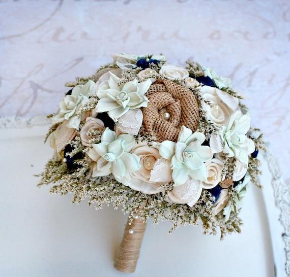 Rustic Wedding Bouquet Mint Navy Bridal Dried