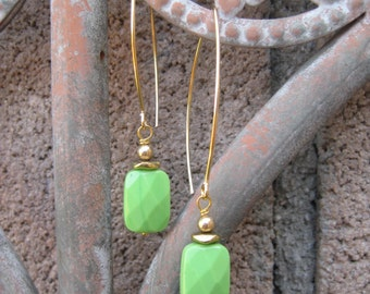 Lime Turquoise on Long Ear Wires - Boho Earrings - Long Earrings with Faceted Turquoise