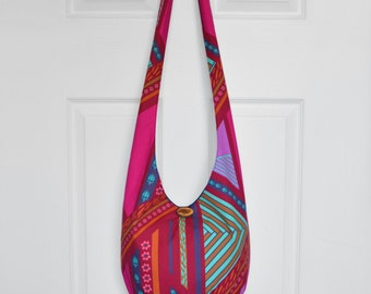Hobo Bag Crossbody Bag Hippie Purse Sling Bag Hobo Purse Boho Bag Bohemian Purse Geometric Floral Hobo Bag Handmade Fabric Purse Slouch Bag