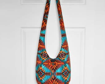 MADE TO ORDER Hobo Bag Boho Bag Hippie Purse Crossbody Bag Sling Bag Hippie Bag Aztec Southwestern Geometric Handmade Purse Bohemian Purse