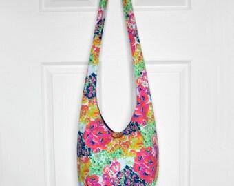 SALE Hobo Bag Boho Bag Hippie Purse Crossbody Bag Sling Bag Hippie Bag Bohemian Purse Hobo Purse Slouchy Bag Floral Fabric Bag Handmade Bag