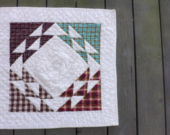 Geometric Plaid Hand Quilted Table topper centerpiece country western modern farmhouse cozy cabin cottage plaid prairie table decoration