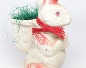 Vintage Large 1950's Paper Mache Easter Bunny Rabbit Candy Container with Grass