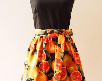 Juicy Orange Tropical Sundress, Summer Dress, Black Tangerine Dress, Carnival Retro Party Vintage Inspired Dress, Fruit Dress, XS-XL, Custom