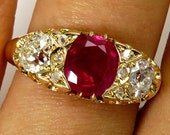 "GIA ""No Heat"" Antique Victorian 2.30ct BURMA Pigeon Blood Red Ruby and Old Mine Diamond Engagement 18k Gold Ring"