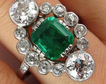 Fine Art Nouveau 4.00ctw GIA COLOMBIA Green Emerald and OLD European Cut Diamond Platinum Ring