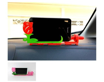 Car Holder Mount For Universal Cell Phone, GPS - Decorative - Adjustable - Rose Shape - 3D Print - 4 colors