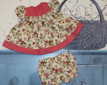 "Handmade 18 - 20 Inch Baby Doll Clothes ~ ""Good Morning"" Red, Green & Pink 2-Piece Flower / Dots Print Dress Set with Panties"