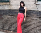SUPER SALE: Vintage Late 1960s/Early 1970s Red Deadstock Bellbottoms Size 0