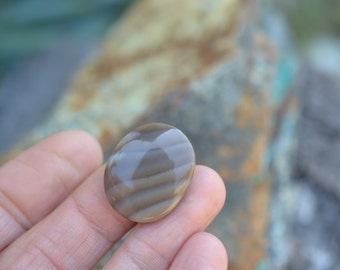 CLEARANCE. Polish Flint. rounded Stone. Earth tone cabs. Striped. Browns