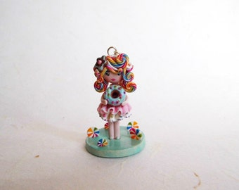 On sale!! 25% discounted! Kawaii Donut Doll necklace with stand. One of a kind.