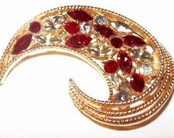 "Swirl Brooch Pin Red & Clear Ice Rhinestones C Shape Design 2"" Vintage Holidays"