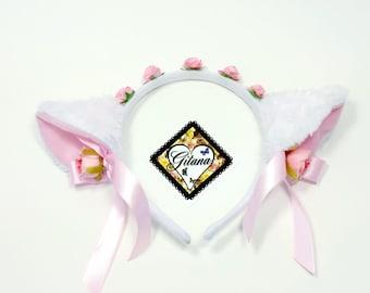 Cat Headband-Cat Ears-Lolita Headband-Lolita Accessories-Neko-Halloween-Kitty Headband-Harajuku-Hime-Fairy Kei-Mori Kei-Halloween-Cosplay