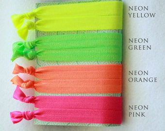 90's Neon Colors Elastic Hair Tie 8-Pack - 90's Theme Party Favors - Summer Hair Ties for Girls & Women