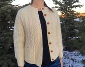 vintage aran sweater fisherman knit cardi sweater - 70s