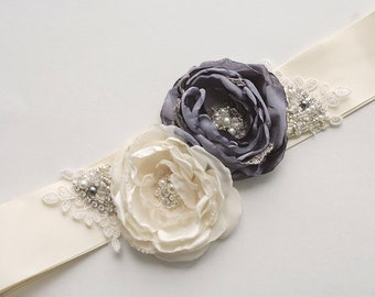 Ivory and Grey Bridal Flower Sash, Wedding Floral Sash, Wedding Sash, Bridal Sash, Grey Bridal Sash, Wedding Dress Sash, Crystal Beaded Sash