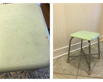 Vintage Stool Mint Green Wood Seat w/ Metal Legs Rubber Feet Industrial Teachers Stool Piano Bench Vanity Seat End Table Kitchen Night Stand